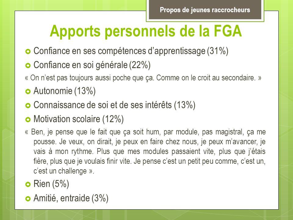 Apports personnels de la FGA Confiance en ses compétences dapprentissage (31%) Confiance en soi générale (22%) « On nest pas toujours aussi poche que