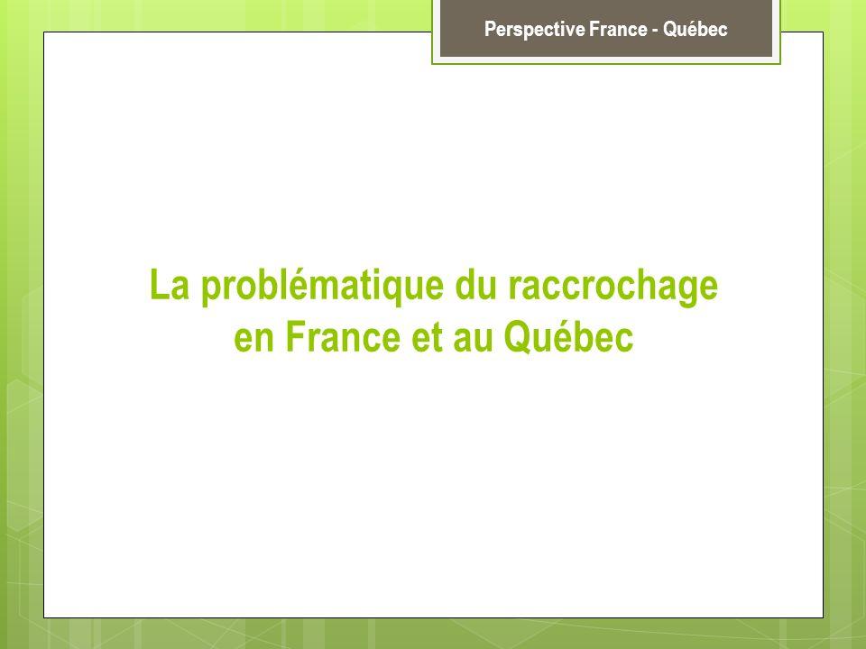 La problématique du raccrochage en France et au Québec Perspective France - Québec