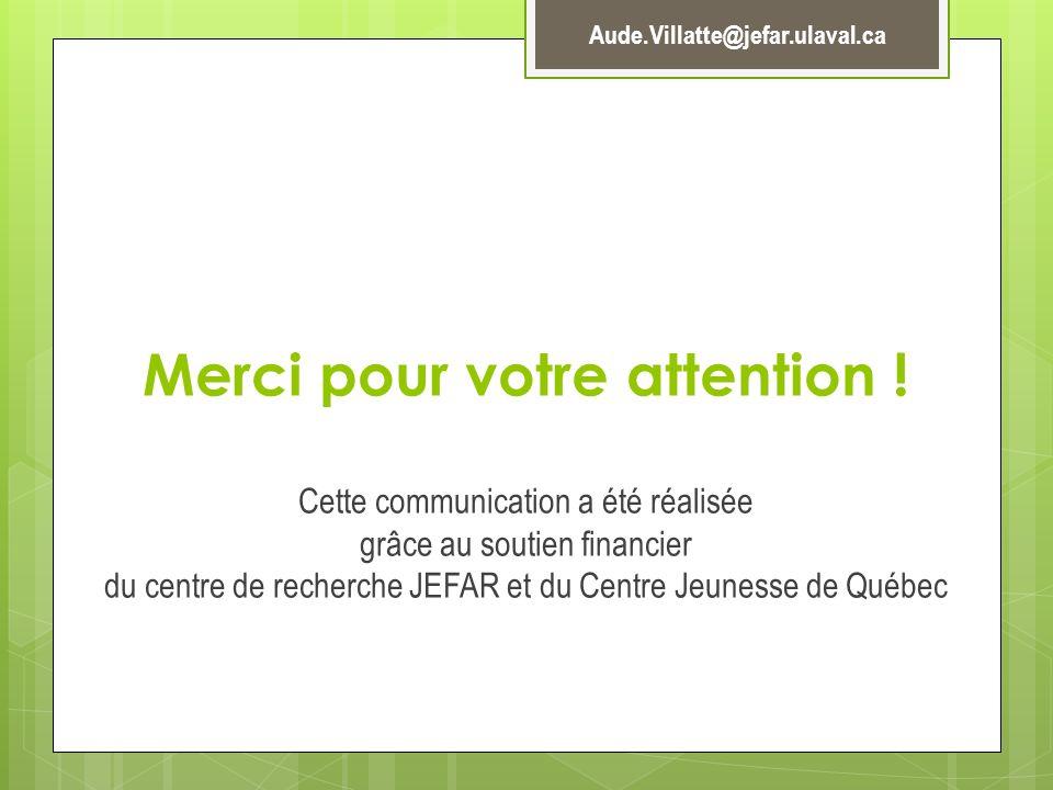 Merci pour votre attention ! Cette communication a été réalisée grâce au soutien financier du centre de recherche JEFAR et du Centre Jeunesse de Québe