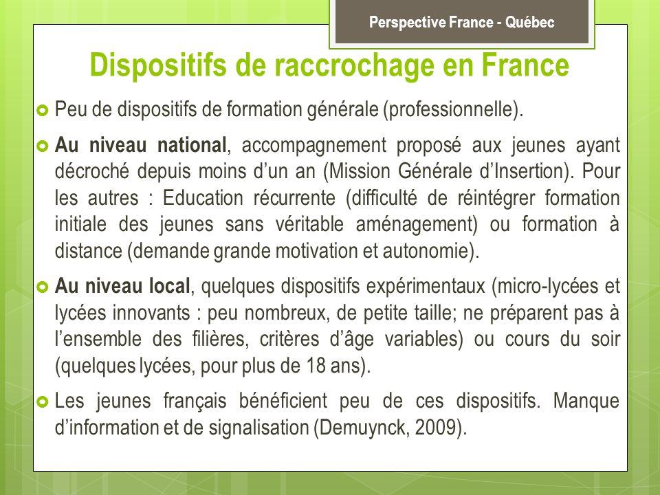 Dispositifs de raccrochage en France Peu de dispositifs de formation générale (professionnelle). Au niveau national, accompagnement proposé aux jeunes