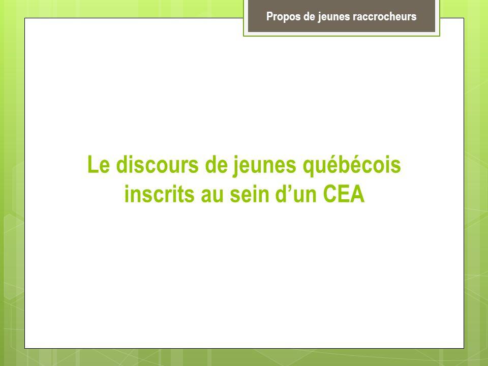 Le discours de jeunes québécois inscrits au sein dun CEA Propos de jeunes raccrocheurs