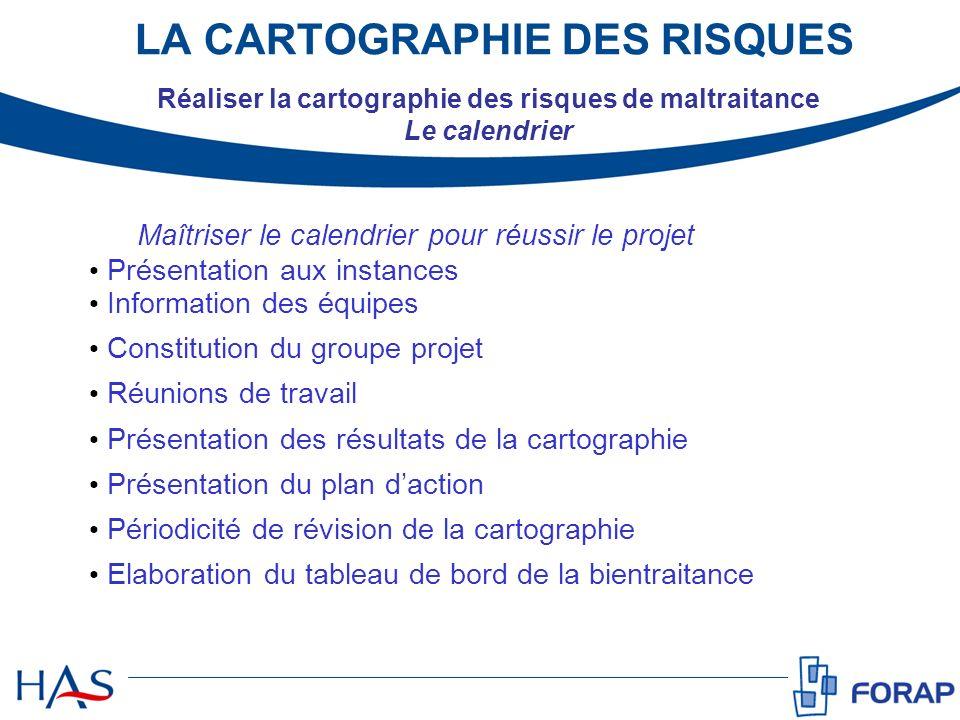 Maîtriser le calendrier pour réussir le projet Présentation aux instances Information des équipes Constitution du groupe projet Réunions de travail Pr