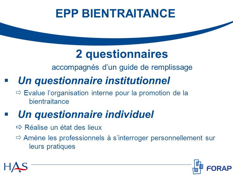 2 questionnaires accompagnés dun guide de remplissage Un questionnaire institutionnel Evalue lorganisation interne pour la promotion de la bientraitan