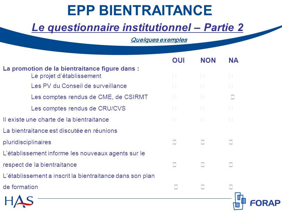 EPP BIENTRAITANCE OUI NON NA La promotion de la bientraitance figure dans : Le projet détablissement Les PV du Conseil de surveillance Les comptes ren