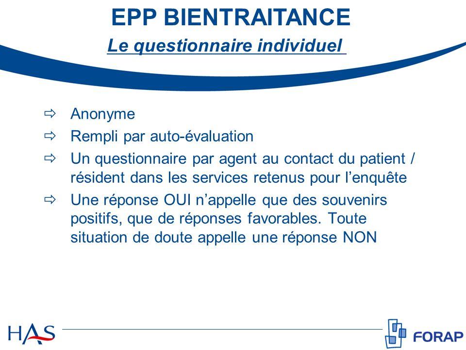 Anonyme Rempli par auto-évaluation Un questionnaire par agent au contact du patient / résident dans les services retenus pour lenquête Une réponse OUI