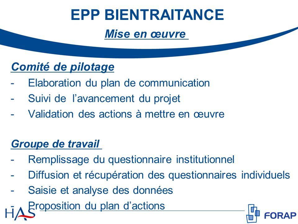 EPP BIENTRAITANCE Mise en œuvre Comité de pilotage -Elaboration du plan de communication -Suivi de lavancement du projet -Validation des actions à met