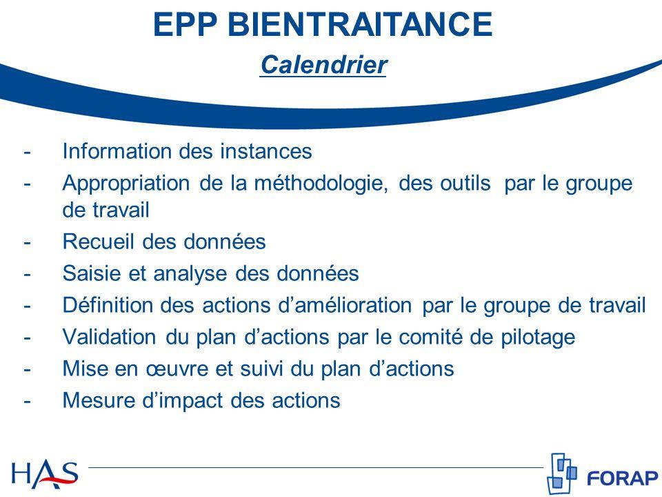 EPP BIENTRAITANCE Calendrier -Information des instances -Appropriation de la méthodologie, des outils par le groupe de travail -Recueil des données -S