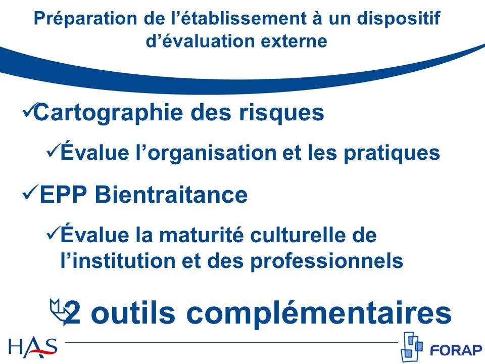 Cartographie des risques Évalue lorganisation et les pratiques EPP Bientraitance Évalue la maturité culturelle de linstitution et des professionnels 2