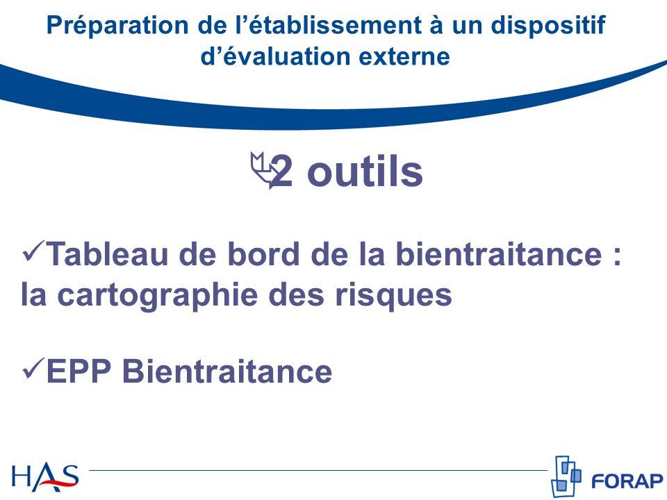 2 outils Tableau de bord de la bientraitance : la cartographie des risques EPP Bientraitance Préparation de létablissement à un dispositif dévaluation