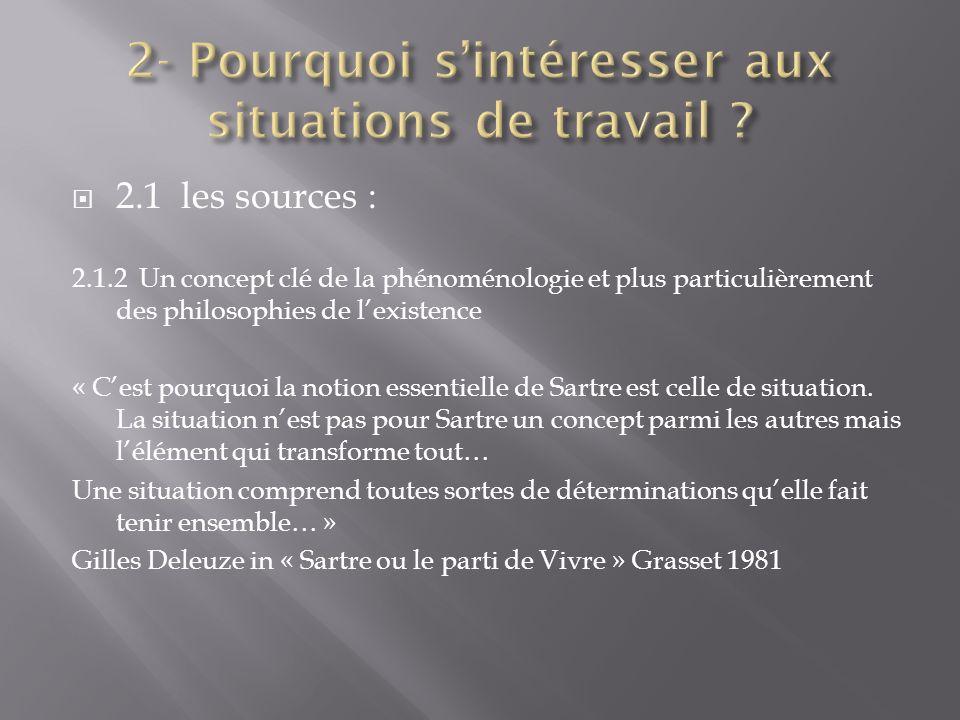 2.1 les sources : 2.1.2 Un concept clé de la phénoménologie et plus particulièrement des philosophies de lexistence « Cest pourquoi la notion essentie