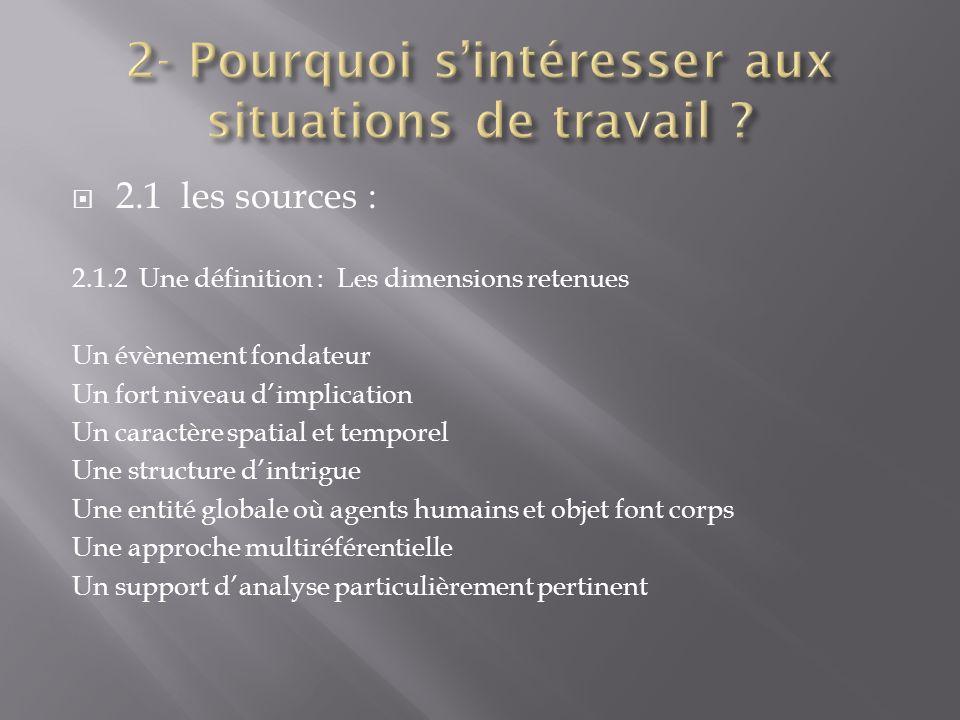 2.1 les sources : 2.1.2 Une définition : Les dimensions retenues Un évènement fondateur Un fort niveau dimplication Un caractère spatial et temporel U