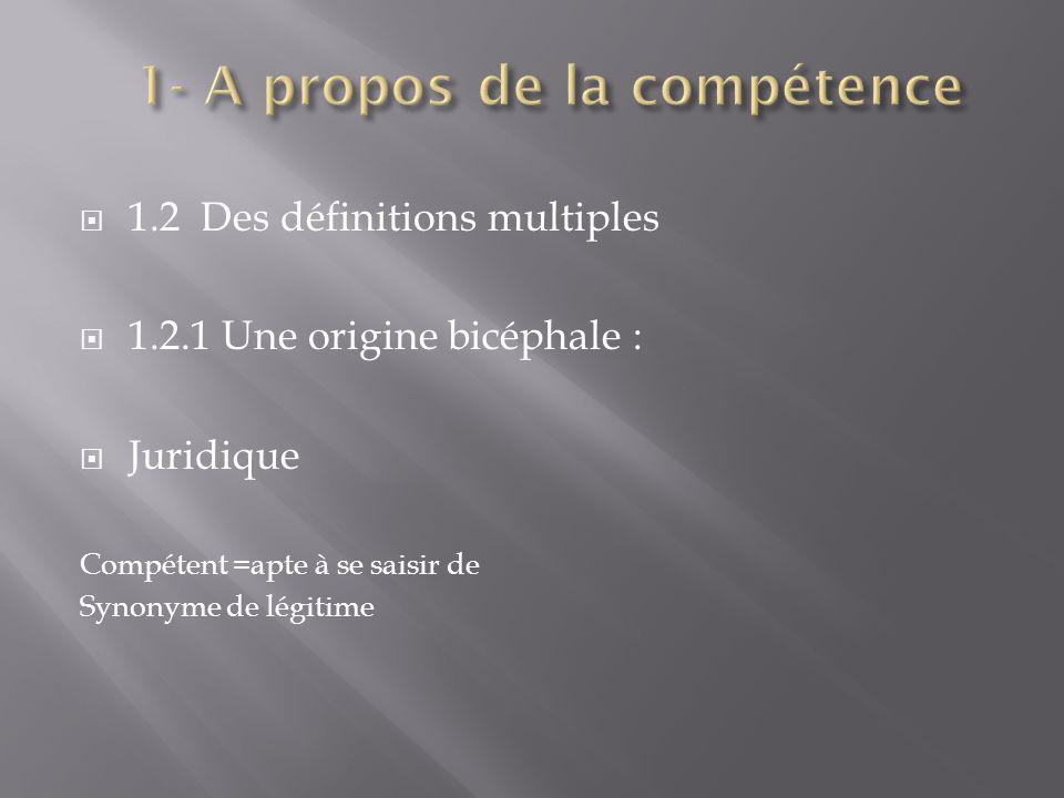 1.2 Des définitions multiples 1.2.1 Une origine bicéphale : Juridique Compétent =apte à se saisir de Synonyme de légitime