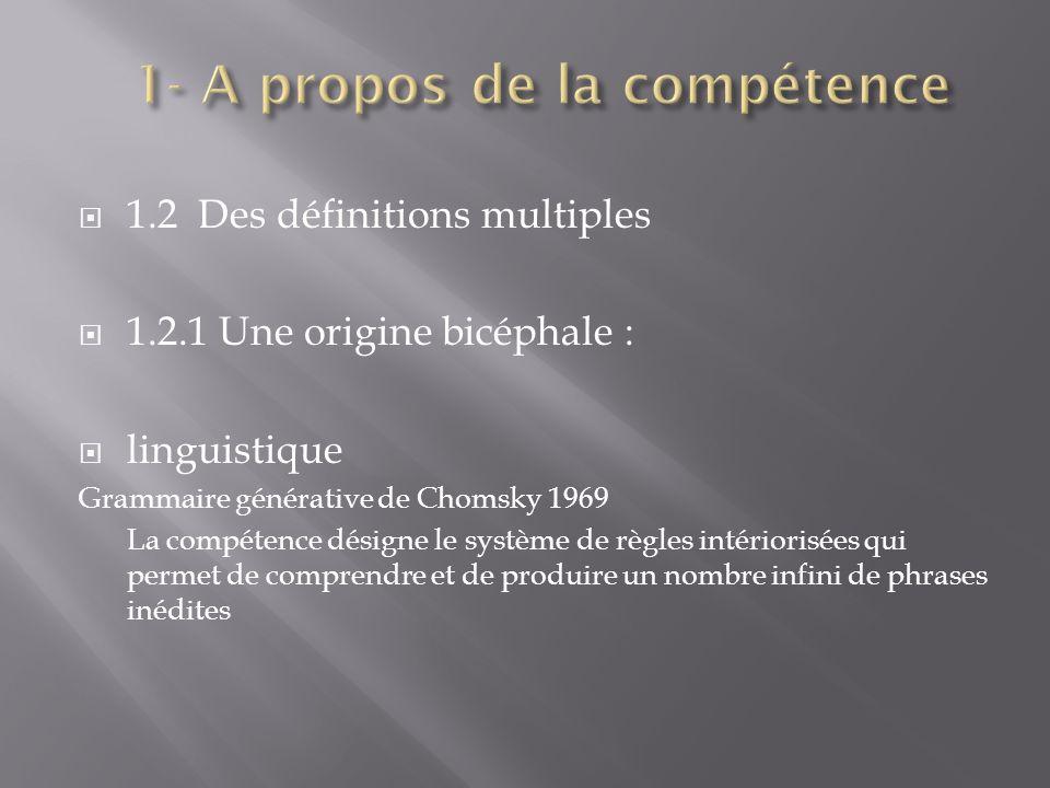 1.2 Des définitions multiples 1.2.1 Une origine bicéphale : linguistique Grammaire générative de Chomsky 1969 La compétence désigne le système de règl