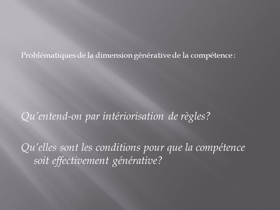 Problématiques de la dimension générative de la compétence : Quentend-on par intériorisation de règles? Quelles sont les conditions pour que la compét