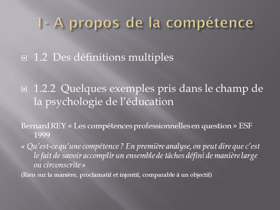 1.2 Des définitions multiples 1.2.2 Quelques exemples pris dans le champ de la psychologie de léducation Bernard REY « Les compétences professionnelle
