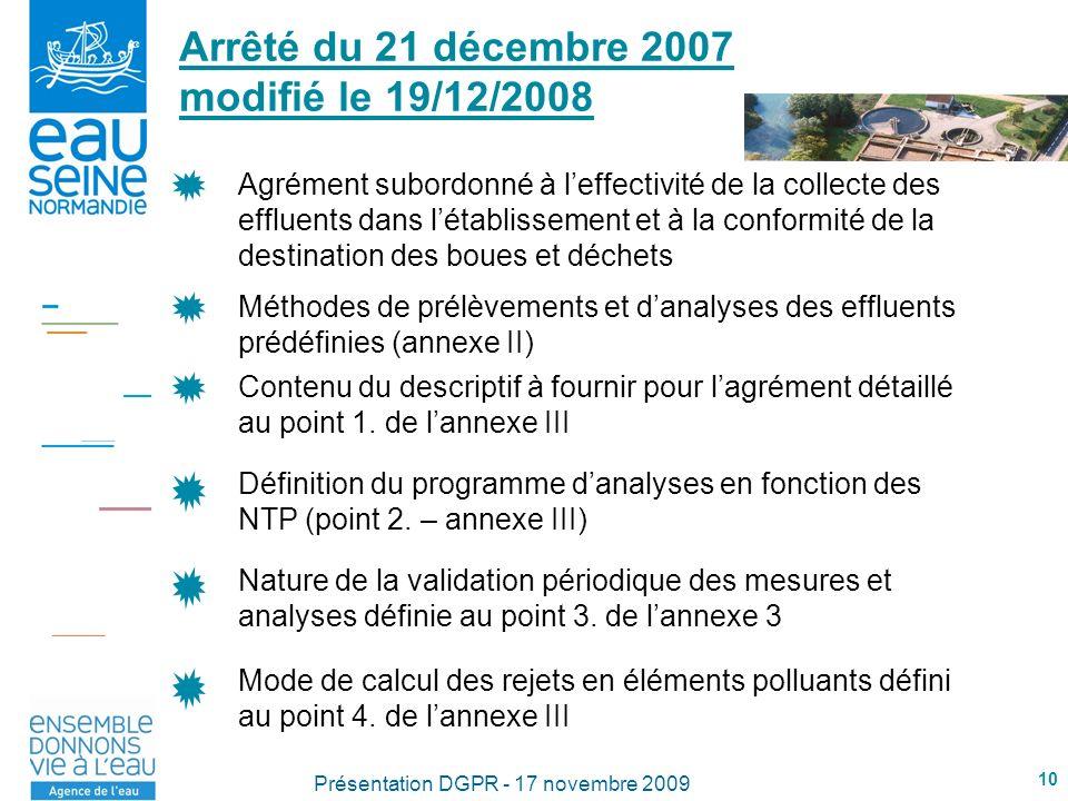 10 Présentation DGPR - 17 novembre 2009 Arrêté du 21 décembre 2007 modifié le 19/12/2008 Méthodes de prélèvements et danalyses des effluents prédéfinies (annexe II) Contenu du descriptif à fournir pour lagrément détaillé au point 1.