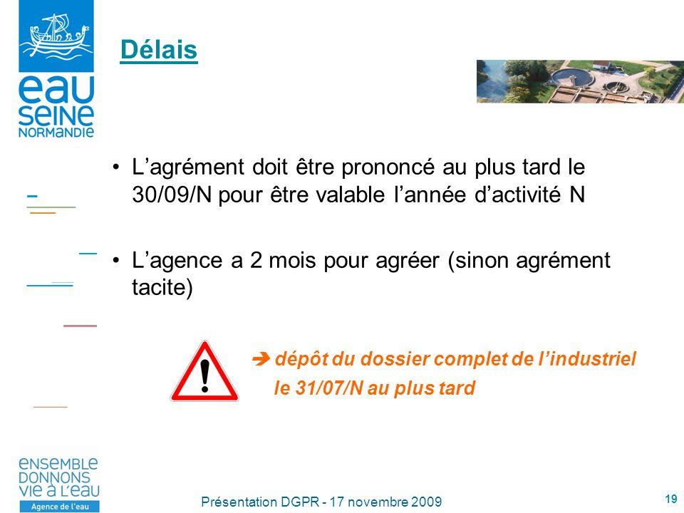 19 Présentation DGPR - 17 novembre 2009 Délais Lagrément doit être prononcé au plus tard le 30/09/N pour être valable lannée dactivité N Lagence a 2 mois pour agréer (sinon agrément tacite) dépôt du dossier complet de lindustriel le 31/07/N au plus tard