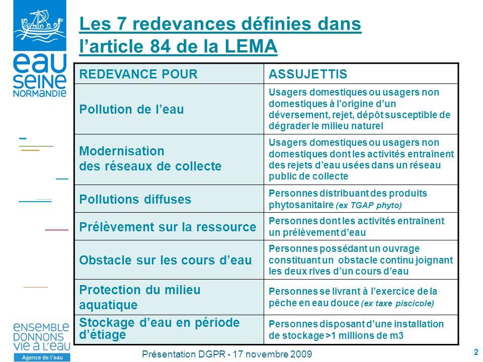 2 Présentation DGPR - 17 novembre 2009 Les 7 redevances définies dans larticle 84 de la LEMA REDEVANCE POURASSUJETTIS Pollution de leau Usagers domest