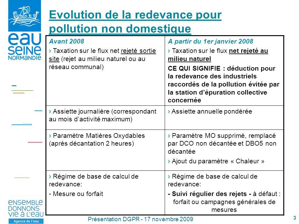 3 Présentation DGPR - 17 novembre 2009 Evolution de la redevance pour pollution non domestique Avant 2008 Taxation sur le flux net rejeté sortie site