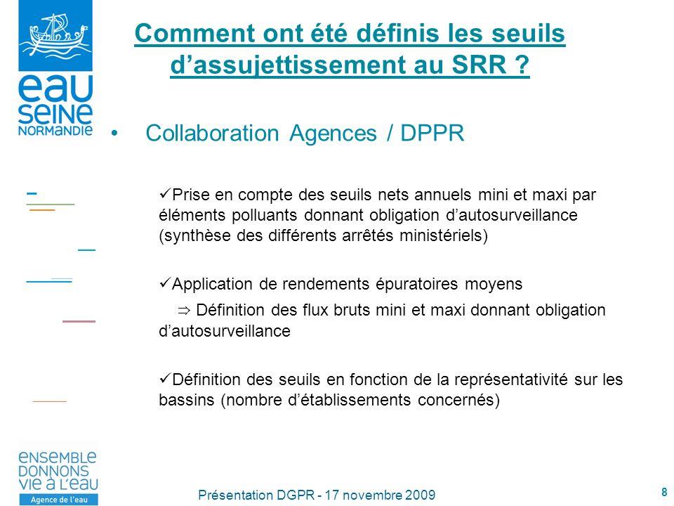 8 Présentation DGPR - 17 novembre 2009 Comment ont été définis les seuils dassujettissement au SRR ? Collaboration Agences / DPPR Prise en compte des
