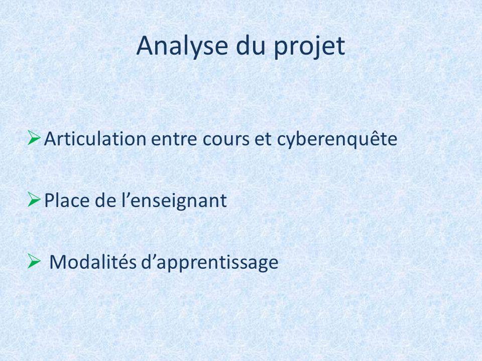 Analyse du projet Articulation entre cours et cyberenquête Place de lenseignant Modalités dapprentissage