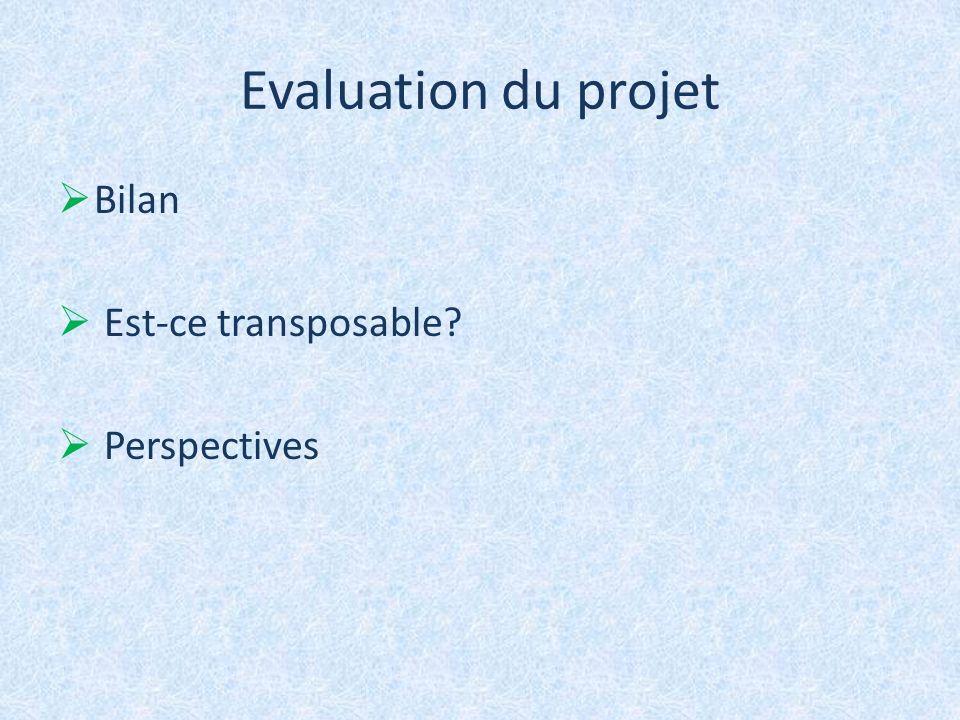 Evaluation du projet Bilan Est-ce transposable? Perspectives