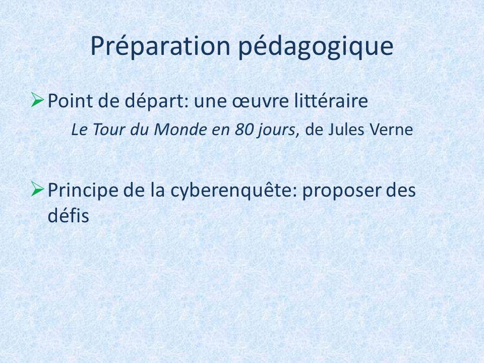 Préparation pédagogique Point de départ: une œuvre littéraire Le Tour du Monde en 80 jours, de Jules Verne Principe de la cyberenquête: proposer des d