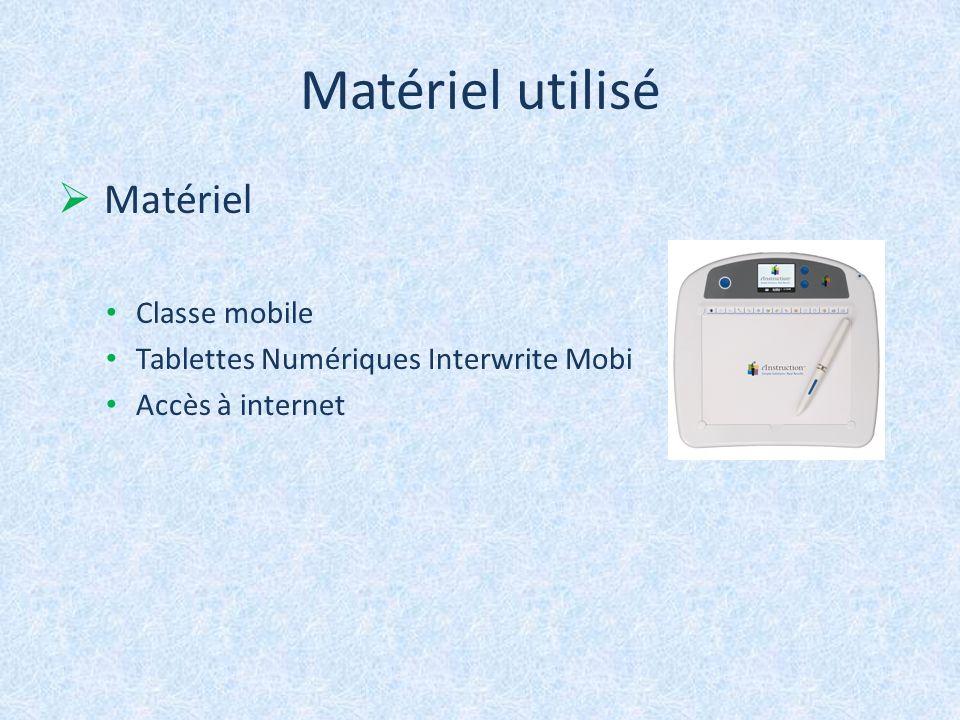 Matériel utilisé Matériel Classe mobile Tablettes Numériques Interwrite Mobi Accès à internet
