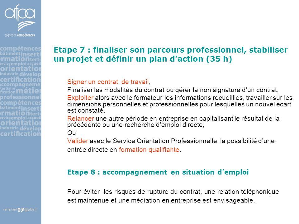 afpa corse rene.kerherve@afpa.fr17 Etape 7 : finaliser son parcours professionnel, stabiliser un projet et définir un plan daction (35 h) Signer un co