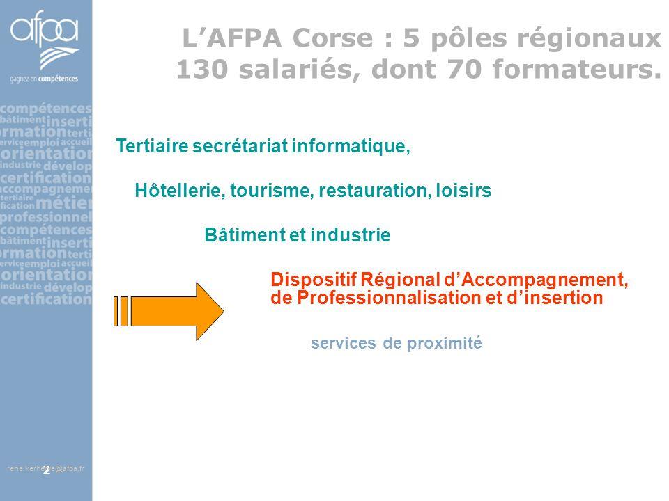afpa corse rene.kerherve@afpa.fr13 Contenu de la prestation pour un parcours de 400 à 800 heures 1 Accueil 2 CONNAITRE LENVIRONNEMENT SOCIO-ECONOMIQUE 3 IDENTIFIER EXPERIENCES ET COMPETENCES AU REGARD DES EMPLOIS OU CHOIX PROFESSIONNELS CIBLES 4 DECOUVRIR LES CONTRATS, LE METIER, LES REALITES PROFESSIONNELLES, ENTREPRENDRE DES DEMARCHES CONCRETES 5 SE PREPARER A RENCONTRER LES PROFESSIONNELS 6 PERIODES EN ENTREPRISES et/ou ASSOCIATIONS 1 ou plusieurs entreprises et/ou associations 1 ou plusieurs objectifs But final : NEGOCIER LE CONTRAT De 200 à 700 heures 7 FINALISER LE PARCOURS PROFESSIONNEL : SIGNER LE CONTRAT, RECOMMENCER UNE PERIODE EN ENTREPRISE, PREVOIR UN TEMPS DE FORMATION… 8 ACCOMPAGNEMENT EN SITUATION DEMPLOI rene.kerherve@afpa.fr Étapes intermédiaires ou complémentaires en lien avec le projet professionnel de la personne Enseignement à distance Parcours dacquisition de compétences clés Découvertes des métiers VAE Formations spécifiques hors AFPA