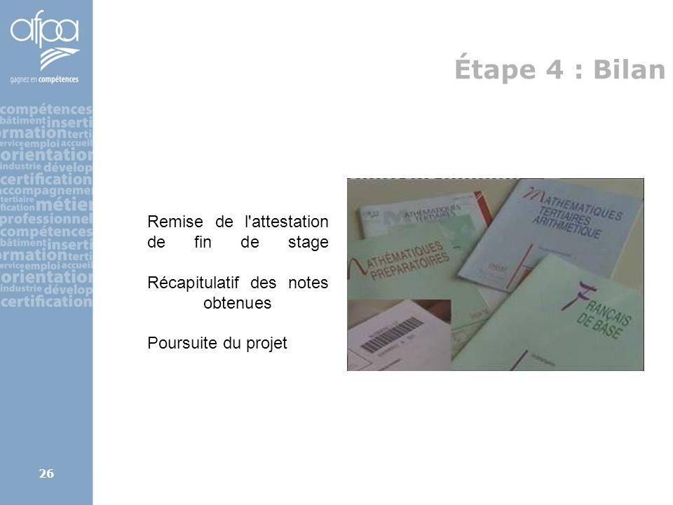 afpa corse rene.kerherve@afpa.fr26 Étape 4 : Bilan Remise de l'attestation de fin de stage Récapitulatif des notes obtenues Poursuite du projet