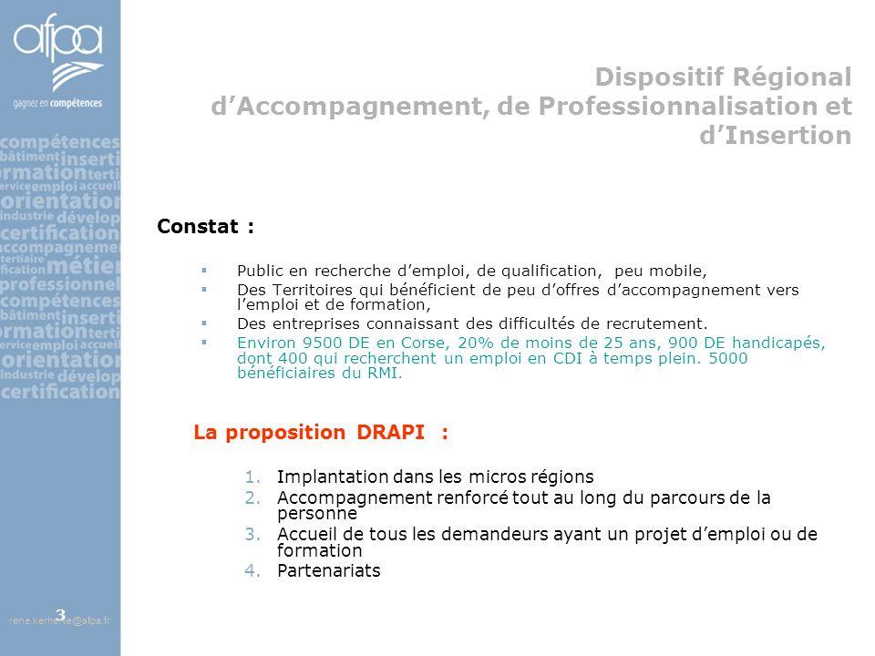 afpa corse rene.kerherve@afpa.fr3 Dispositif Régional dAccompagnement, de Professionnalisation et dInsertion Constat : Public en recherche demploi, de