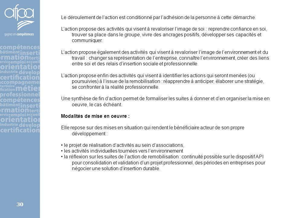 afpa corse rene.kerherve@afpa.fr30 Le déroulement de laction est conditionné par ladhésion de la personne à cette démarche. Laction propose des activi