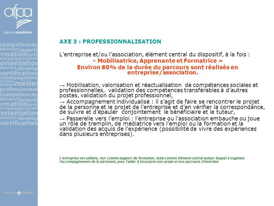 afpa corse rene.kerherve@afpa.fr9 AXE 3 : PROFESSIONNALISATION Lentreprise et/ou lassociation, élément central du dispositif, à la fois : « Mobilisatr