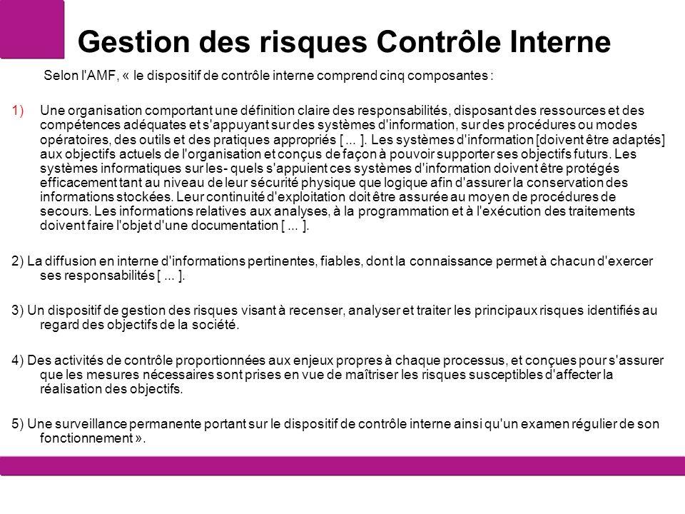 Gestion des risques Contrôle Interne Selon l'AMF, « le dispositif de contrôle interne comprend cinq composantes : 1)Une organisation comportant une dé