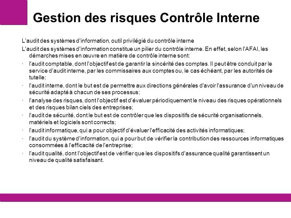 Gestion des risques Contrôle Interne L'audit des systèmes d'information, outil privilégié du contrôle interne L'audit des systèmes d'information const