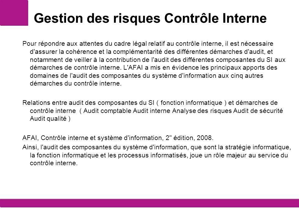 Gestion des risques Contrôle Interne Pour répondre aux attentes du cadre légal relatif au contrôle interne, il est nécessaire d'assurer la cohérence e