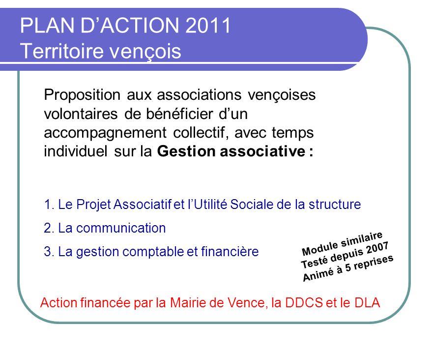 PLAN DACTION 2011 Territoire vençois Proposition aux associations vençoises volontaires de bénéficier dun accompagnement collectif, avec temps individ