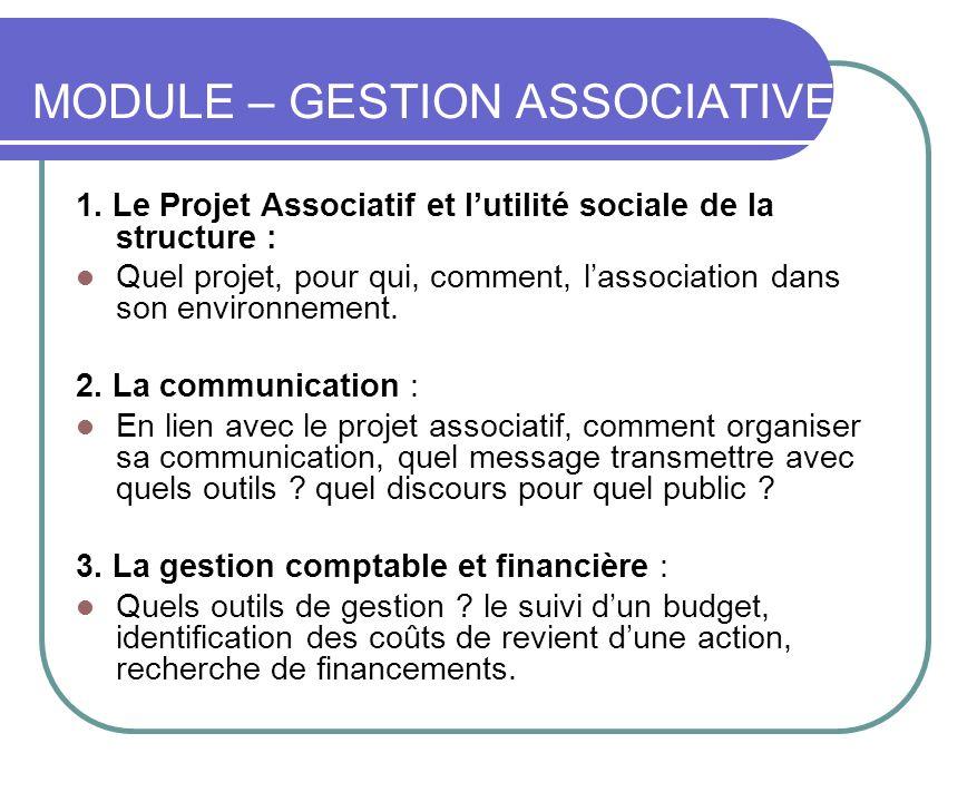 MODULE – GESTION ASSOCIATIVE 1. Le Projet Associatif et lutilité sociale de la structure : Quel projet, pour qui, comment, lassociation dans son envir