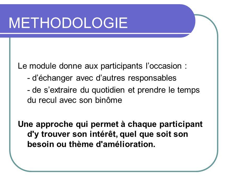 METHODOLOGIE Le module donne aux participants loccasion : - déchanger avec dautres responsables - de sextraire du quotidien et prendre le temps du rec