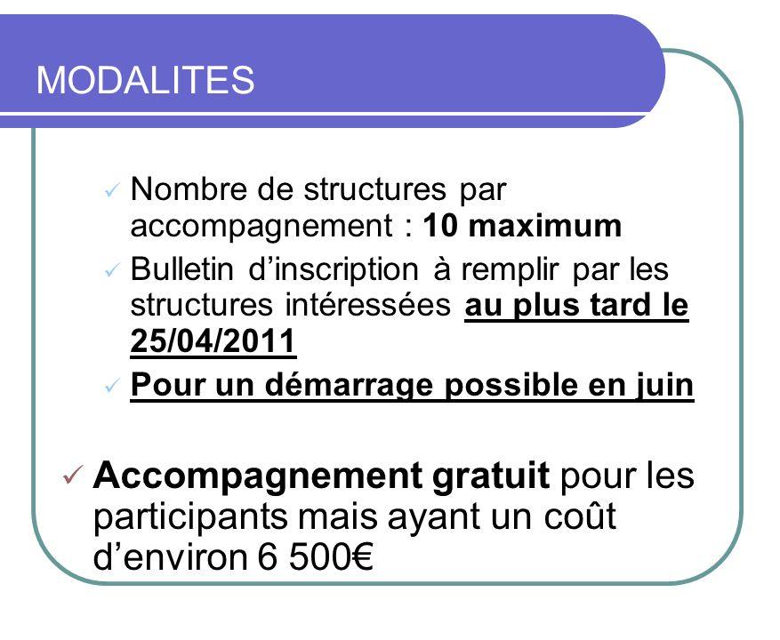 MODALITES Nombre de structures par accompagnement : 10 maximum Bulletin dinscription à remplir par les structures intéressées au plus tard le 25/04/20