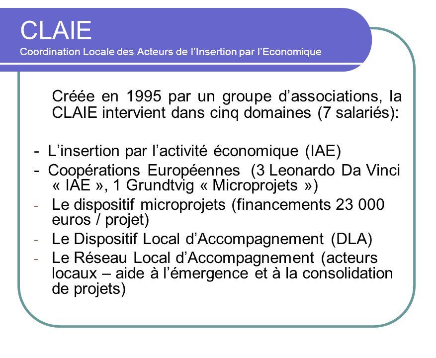 CLAIE Coordination Locale des Acteurs de lInsertion par lEconomique Créée en 1995 par un groupe dassociations, la CLAIE intervient dans cinq domaines