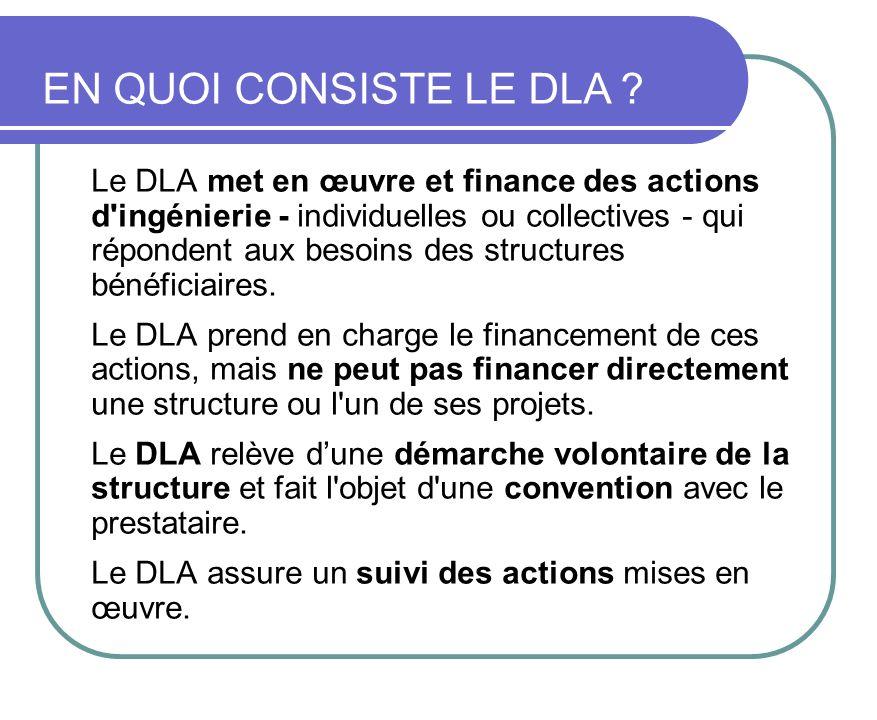 Le DLA met en œuvre et finance des actions d'ingénierie - individuelles ou collectives - qui répondent aux besoins des structures bénéficiaires. Le DL