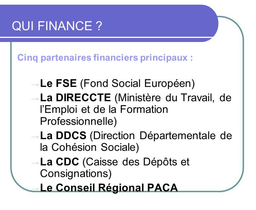 Cinq partenaires financiers principaux : Le FSE (Fond Social Européen) La DIRECCTE (Ministère du Travail, de lEmploi et de la Formation Professionnell