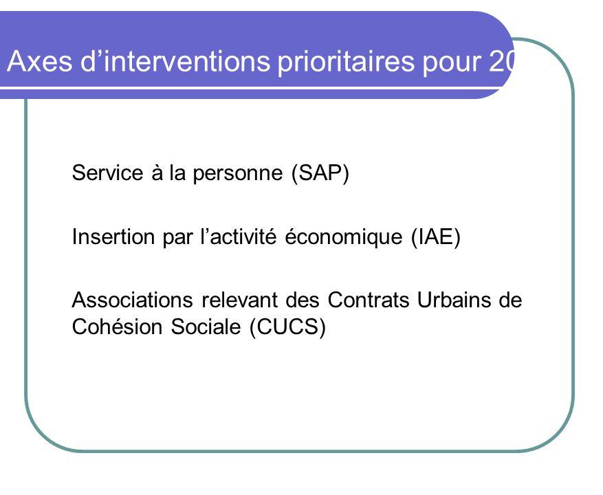 Service à la personne (SAP) Insertion par lactivité économique (IAE) Associations relevant des Contrats Urbains de Cohésion Sociale (CUCS) Axes dinter
