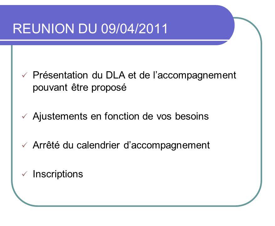 REUNION DU 09/04/2011 Présentation du DLA et de laccompagnement pouvant être proposé Ajustements en fonction de vos besoins Arrêté du calendrier dacco