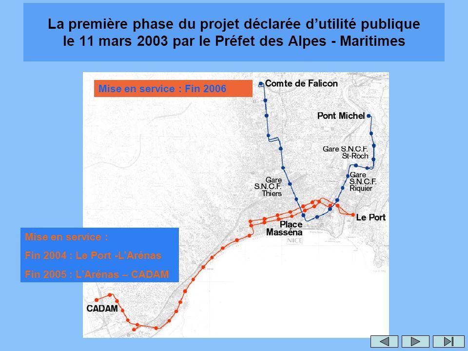 La première phase du projet déclarée dutilité publique le 11 mars 2003 par le Préfet des Alpes - Maritimes Mise en service : Fin 2006 Mise en service