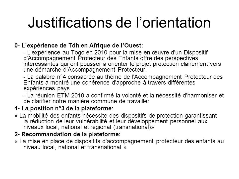 Justifications de lorientation 0- Lexpérience de Tdh en Afrique de lOuest: - Lexpérience au Togo en 2010 pour la mise en œuvre dun Dispositif dAccompagnement Protecteur des Enfants offre des perspectives intéressantes qui ont pousser à orienter le projet protection clairement vers une démarche dAccompagnement Protecteur.