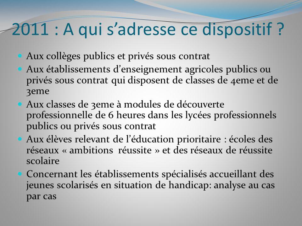 2011 : A qui sadresse ce dispositif ? Aux collèges publics et privés sous contrat Aux établissements denseignement agricoles publics ou privés sous co