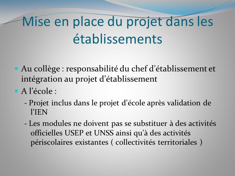 Mise en place du projet dans les établissements Au collège : responsabilité du chef détablissement et intégration au projet détablissement A lécole :